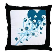 Blue Heart With Skulls And Swirls Throw Pillow
