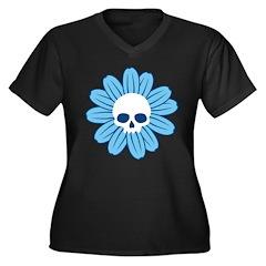 Blue Gothflower Women's Plus Size V-Neck Dark T-Sh