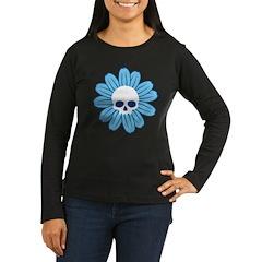 Blue Gothflower Women's Long Sleeve Dark T-Shirt