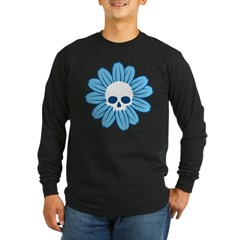 Blue Gothflower Long Sleeve Dark T-Shirt