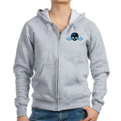 Skull With Blue Blossoms Women's Zip Hoodie