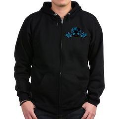 Skull With Blue Blossoms Zip Hoodie (dark)