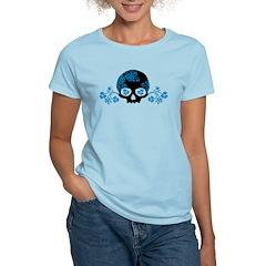 Skull With Blue Blossoms Women's Light T-Shirt