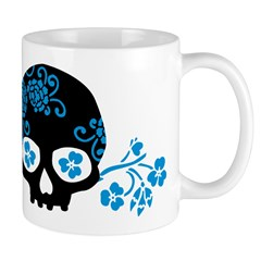 Skull With Blue Blossoms Mug