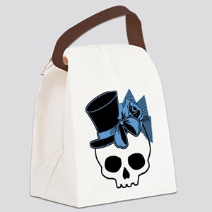 Cute Skull With Blue Bow Tophat Canvas Lunch Bag