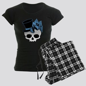 Cute Skull With Blue Bow Tophat Women's Dark Pajam