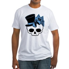 Cute Skull With Blue Bow Tophat Fitted T-Shirt
