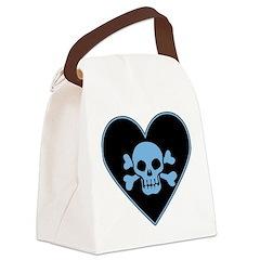 Blue Skull Crossbones Heart Canvas Lunch Bag