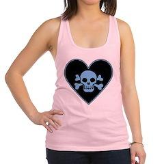 Blue Skull Crossbones Heart Racerback Tank Top