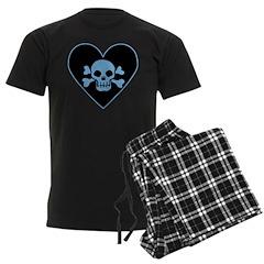 Blue Skull Crossbones Heart Men's Dark Pajamas