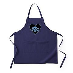 Blue Skull Crossbones Heart Apron (dark)