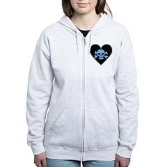 Blue Skull Crossbones Heart Women's Zip Hoodie