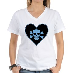 Blue Skull Crossbones Heart Shirt