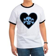 Blue Skull Crossbones Heart Ringer T