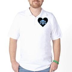 Blue Skull Crossbones Heart Golf Shirt