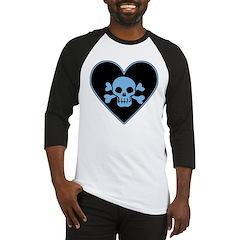 Blue Skull Crossbones Heart Baseball Jersey