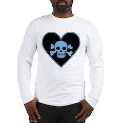 Blue Skull Crossbones Heart Long Sleeve T-Shirt