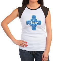 Lacy Blue Nurse Cross Women's Cap Sleeve T-Shirt