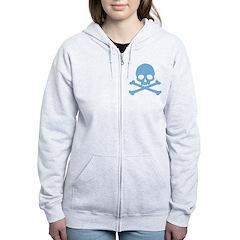 Blue Skull And Crossbones Women's Zip Hoodie