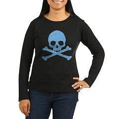 Blue Skull And Crossbones Women's Long Sleeve Dark