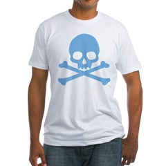 Blue Skull And Crossbones Fitted T-Shirt