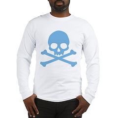 Blue Skull And Crossbones Long Sleeve T-Shirt
