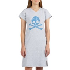 Worn Blue Skull And Crossbones Women's Nightshirt