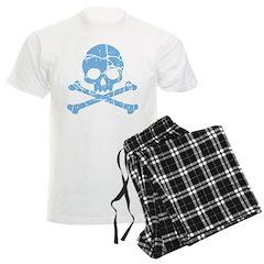 Worn Blue Skull And Crossbones Men's Light Pajamas