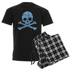 Worn Blue Skull And Crossbones Men's Dark Pajamas