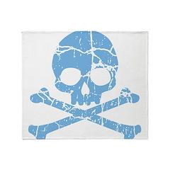 Worn Blue Skull And Crossbones Throw Blanket