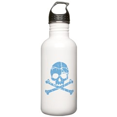 Worn Blue Skull And Crossbones Stainless Water Bot