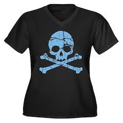 Worn Blue Skull And Crossbones Women's Plus Size V