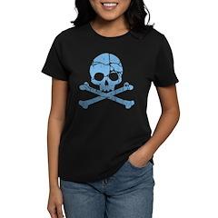 Worn Blue Skull And Crossbones Women's Dark T-Shir
