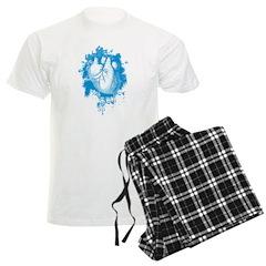 Blue Grungy Heart Men's Light Pajamas