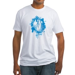 Blue Grungy Heart Fitted T-Shirt