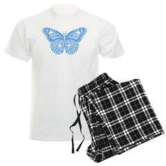 Blue Skull Butterfly Men's Light Pajamas