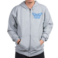 Blue Skull Butterfly Zip Hoodie