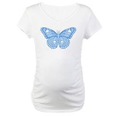 Blue Skull Butterfly Maternity T-Shirt
