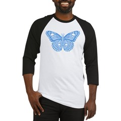 Blue Skull Butterfly Baseball Jersey
