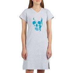 Blue Skull Face Women's Nightshirt