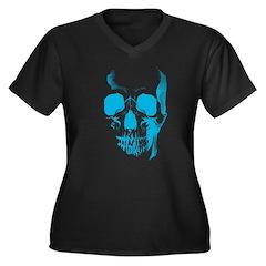 Blue Skull Face Women's Plus Size V-Neck Dark T-Sh