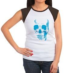Blue Skull Face Women's Cap Sleeve T-Shirt