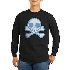 Cute Blue Skull Long Sleeve Dark T-Shirt
