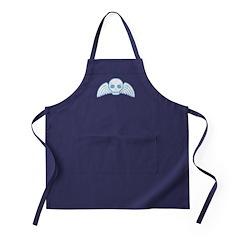 Cute Blue Skull With Wings Apron (dark)