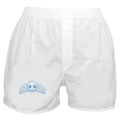 Cute Blue Skull With Wings Boxer Shorts