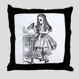 Vintage Alice Drink Me Throw Pillow