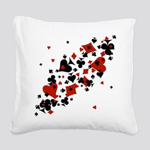 Scattered Card Suits Square Canvas Pillow