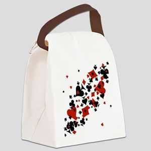 Scattered Card Suits Canvas Lunch Bag