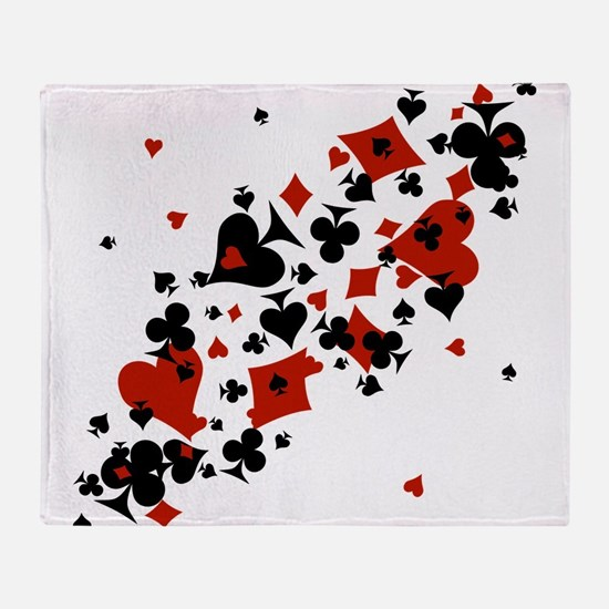 Scattered Card Suits Throw Blanket