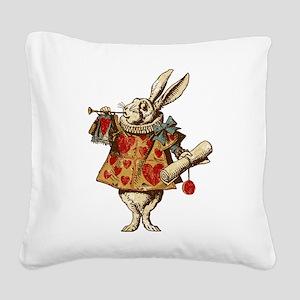 Alice White Rabbit Vintage Square Canvas Pillow